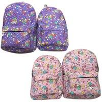 Küçük ikiz yıldız mor pembe anime fermuar sırt çantası omuz çantası mochila çantası okul çantası unisex moda çanta