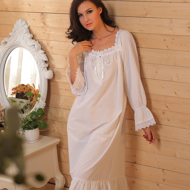 589744f0f6 2015 New Pure cotton Nightgown retro palace long sleeved sleepwear princess  Nightdress for women nightwear home clothing