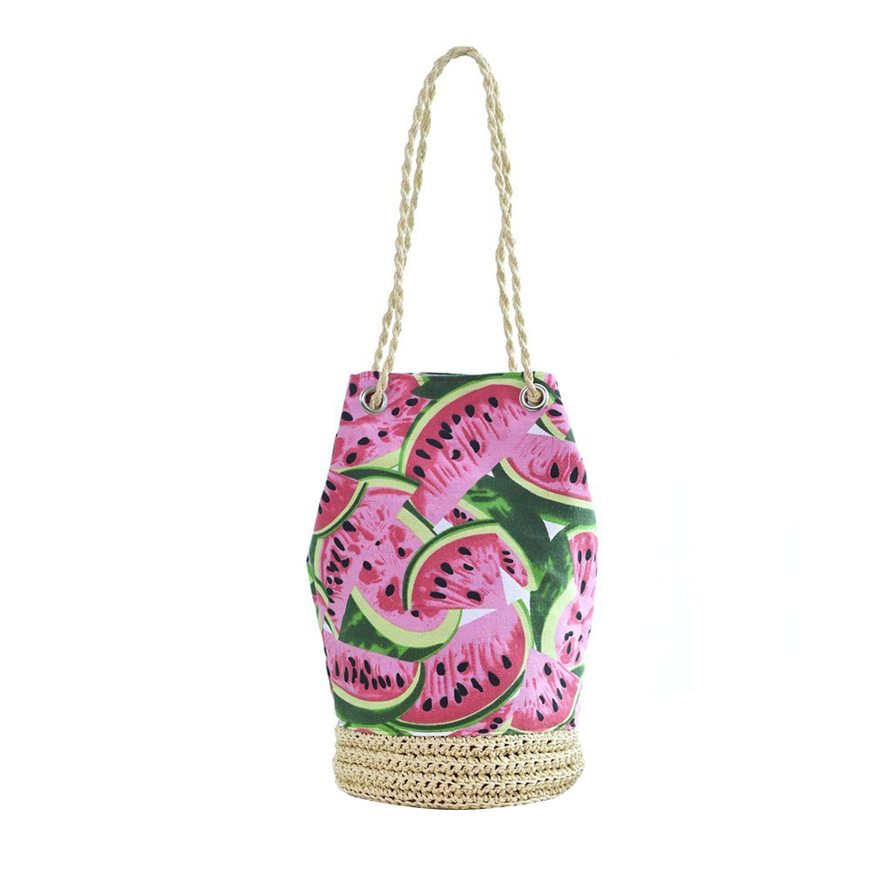And  Canvas Straw Beach Tote Handbags Wraparound Tote, Woven Pouch Carrying Bag Bucket Bags Summer