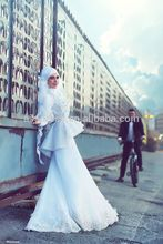 2016 New Design Long Sleeve High Collar Women Muslim Hijab Wedding Dress Beaded Flowers Mermaid Wedding Dresses Custom made
