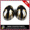 Nova marca abs material plástico espelho lateral tampa uv protegido ouro jack cor do estilo para mini cooper r55-r61 (2 pçs/set)