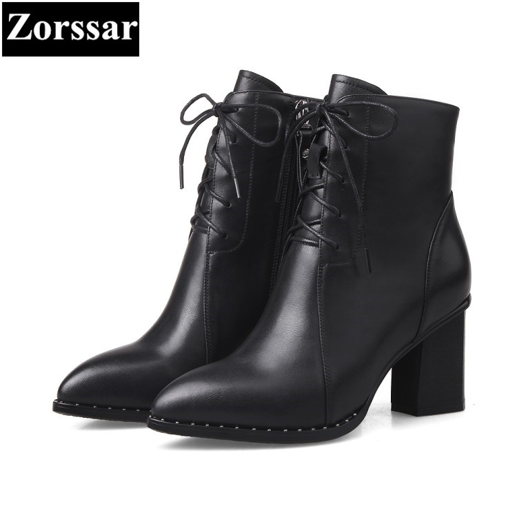 {Zorssar} 2017 New Winter Ladies shoes pointed toe Genuine Leather high heels ankle boots Fashion Heels women Martin boots 2018 new vintage mid calf women boots square thick high heels pointed toe martin boots genuine leather winter shoes for women