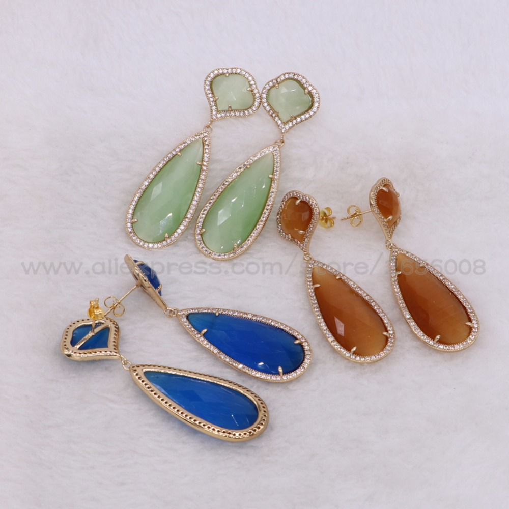 3 Pairs Mix colors faceted opal stones earrings Gold color metal jewelry High quality stone earring Trendy jewelry for women2444