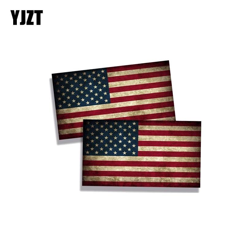 YJZT 2X 11CM*6.2CM  Rustic USA American Car Sticker Flag Funny PVC Decal 12-0491