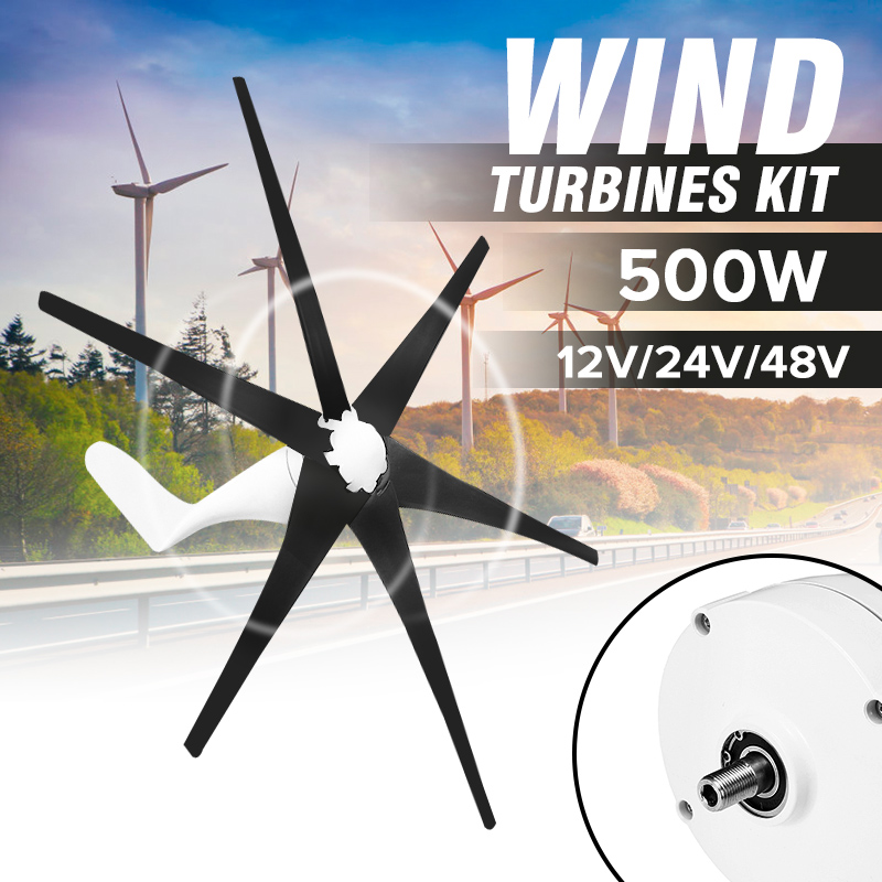 12V/24V/48V 500W Generator Wind For Turbine 6 Blades Horizontal Black Low Noise Home Wind Generator Power Windmill12V/24V/48V 500W Generator Wind For Turbine 6 Blades Horizontal Black Low Noise Home Wind Generator Power Windmill