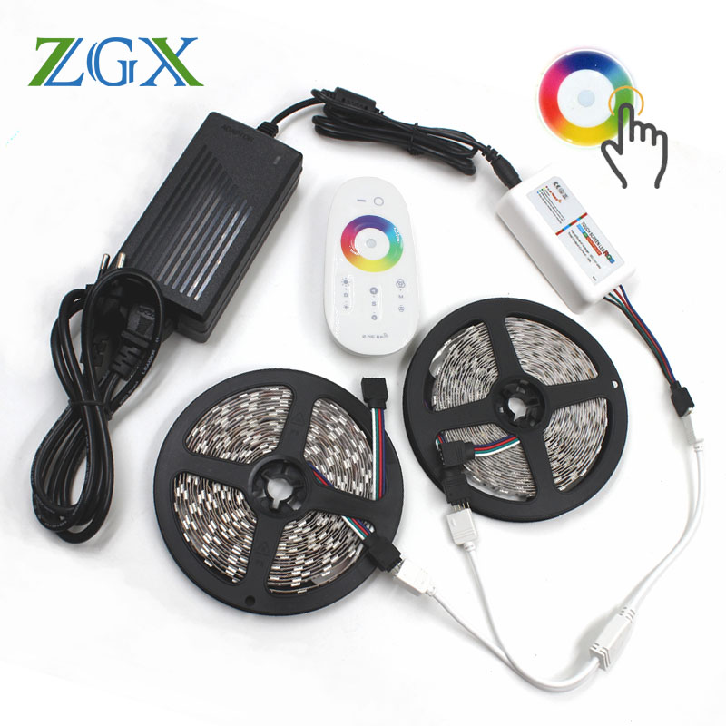 Touch Remote Controller SMD 5050 RGB LED Strip Light 5M Flexible IP 65 Waterproof Neon Lamp Ribbon Tape DC 12V With Adapter Set