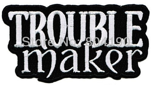 TROUBLE MAKER Embroidered NEW IRON ON and SEW ON Cool Biker Vest Patch Uniform Jacket Military