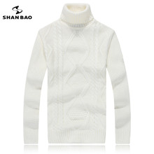 SHAN BAO brand high-collar sweater 65% wool thickening warm men and women twisted Lingge sweater winter new high-quality white