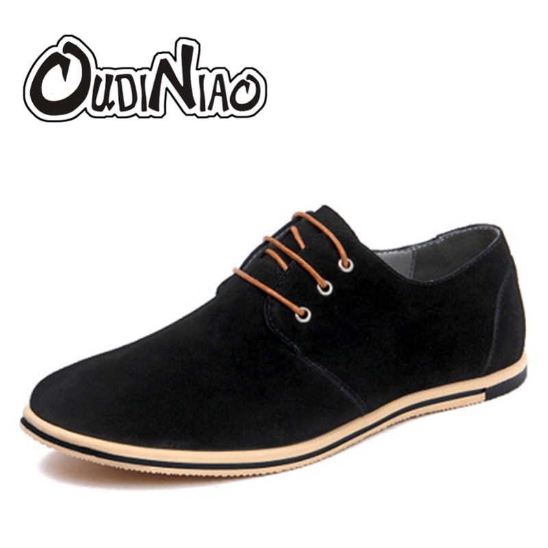 OUDINIAO Cow Suede Mens Shoes Casual Large Sizes Fashion 2018 British Shoes Men Patchwork Classic Shoes For Male Zapatos Hombre plush casual suede shoes boots mens flat with winter comfortable warm men travel shoes patchwork male zapatos hombre sg083