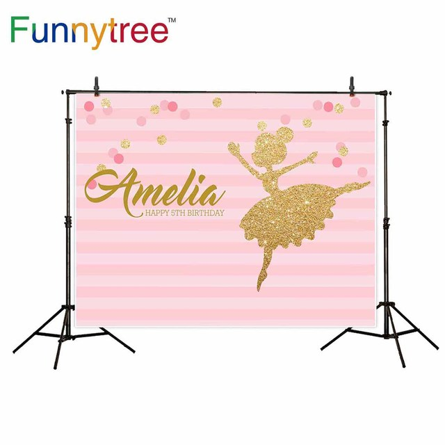 Funnytree backdrop for photography studio ballerina birthday party pink stripe girl professional background photo prop photocall