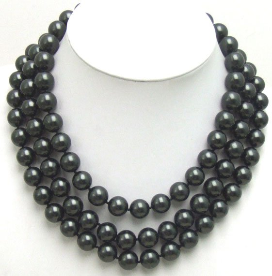 Beautiful! 3 strands AAA+ 12MM high luster Perfect Round Black Sea Shell Pearl 19inch NECKLACE 5352 Wholesale/retail