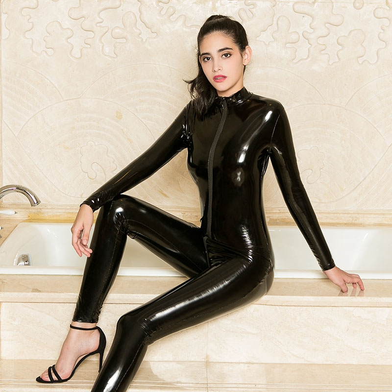 Sexy PU Latex Catsuit Women Black Red Wetlook Faux Leather Bodysuit Gay Hot Erotic Costume Zipper Open Crotch Jumpsuit Lingerie