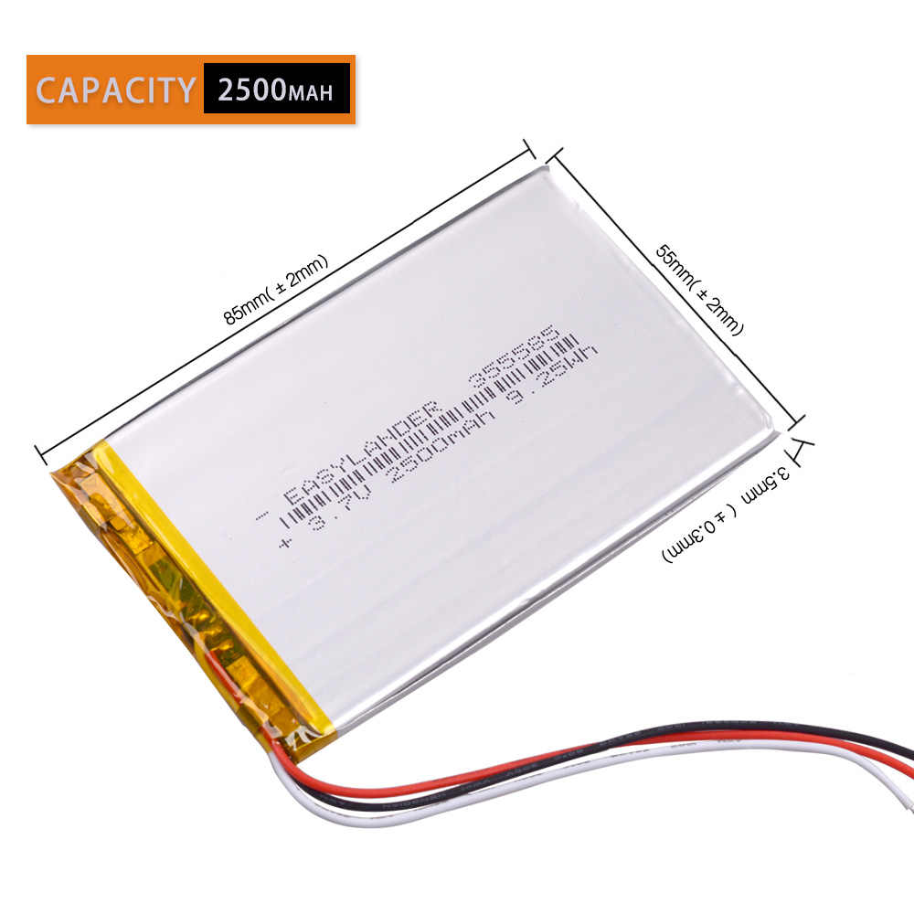 NTC 3-жильный 355585 2500 mAh 3,7 V литий-полимерный Перезаряжаемые батарея для телефона электронная книга Onyx Boox подставка для ноутбука gps DVR