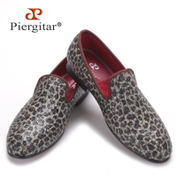 Piergitar New Style Leopard Pattern Special Fabrics Handmade Men Loafers Fashion Men Casual Shoes British Style