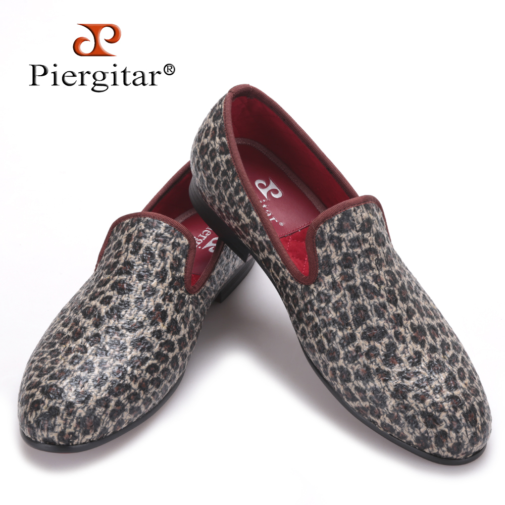 Piergitar new style leopard pattern special fabrics handmade men loafers Fashion men casual shoes British style smoking slipper piergitar new style leopard pattern special fabrics handmade men loafers fashion men casual shoes british style smoking slipper