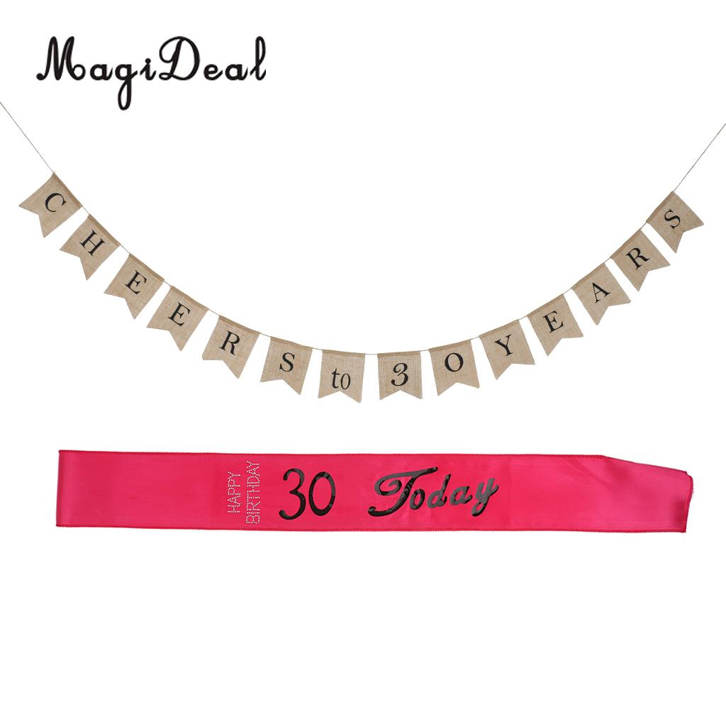 Rustic Country Burlap Cheers To 30 Years Hanging Banner Happy Birthday Satin Sash Today Party Accessories Photo Props In Banners Streamers Confetti