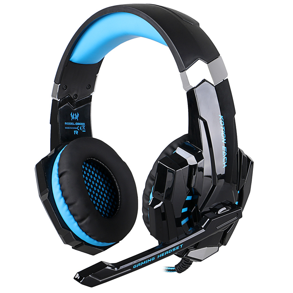 Best KOTION EACH G9000 3.5mm Game Gaming Headphone Headset Earphone With Mic LED Light For Laptop Tablet / PS4 / Mobile Phones kotion each g9000 7 1 surround sound gaming headphone game stereo headset with mic led light headband for ps4 pc tablet phone