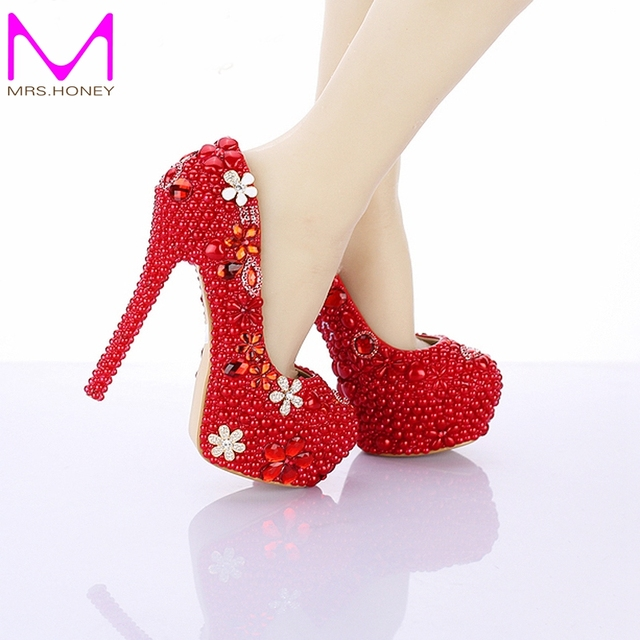 Red Pearl Wedding Shoes 14cm High Heel Round Toe Bridal Dress Custom Made Platform Pumps