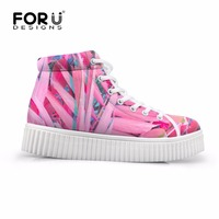 FORUDESIGNS Fashion Pink Women Casual Creepers Shoes 3D Palm Trees Printed Women S High Top Boots