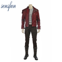 Sensfun Guardians of the Galaxy Cosplay Costume Halloween Costumes for Adult Star Lord Cosplay Costume Jacket Leather Carnival