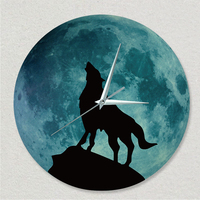 Funlife(TM) Glow in the Dark Moon Wall Clock, Funlife Luminous Glowing Moon Wall Clock Morden Design Wolf Totem Sticker Decal C