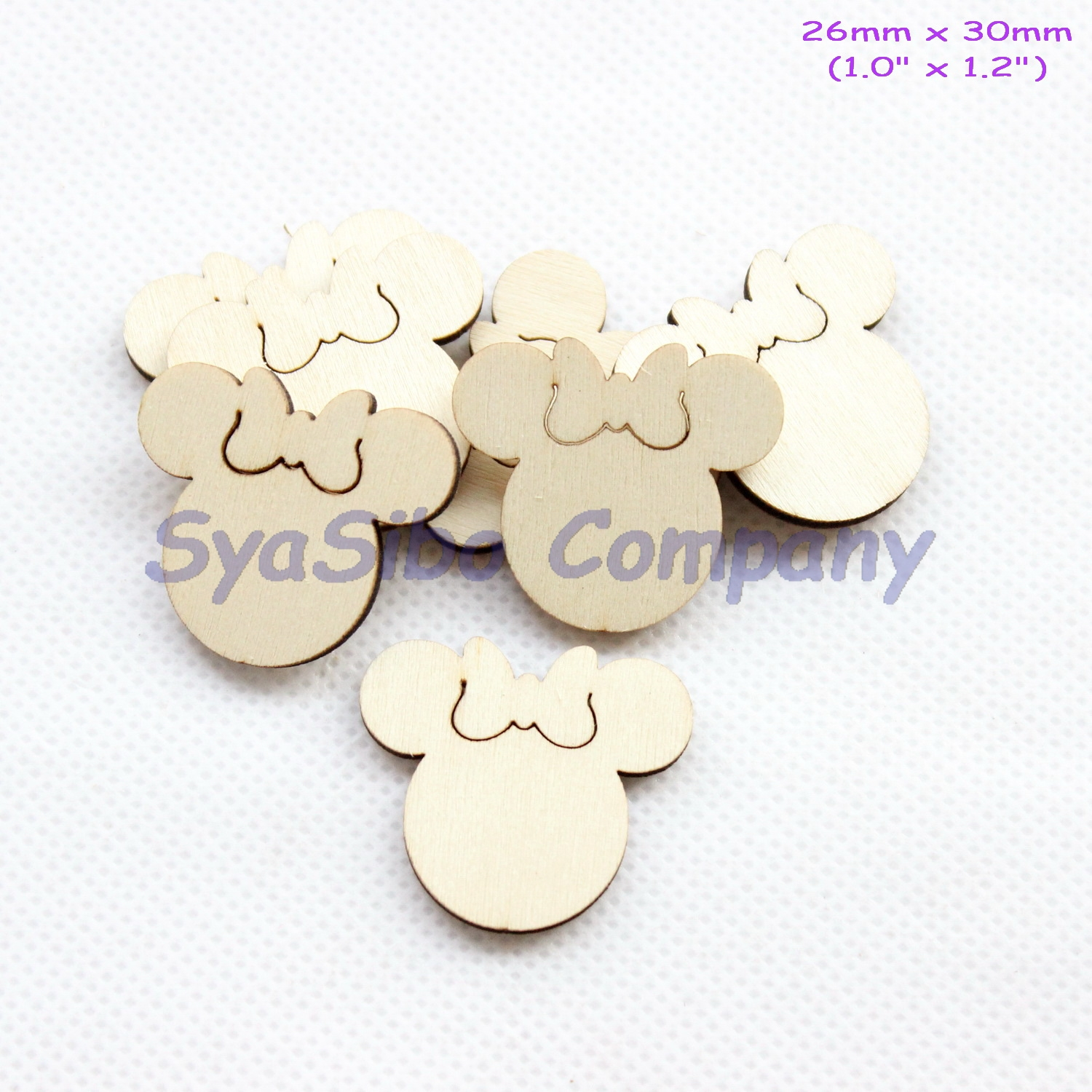 (50pcs/lot) 30MM Blank Rustic Female Mouse Oranments Unfinished Wooden Supply Cutout 1.2