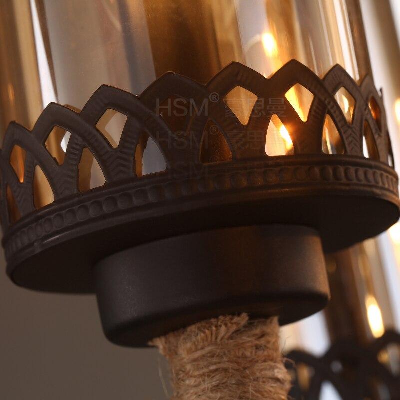 Американская деревенская Ретро 6 персональное подвесное светлое стекло креативная гостиная ресторан кафе железная вязаная картографическая лампа LU728307 - 3