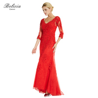 Belicia Couture Women Red Evening Dresses Appliques Lace Asymmetrical Half Sleeves Party Dresses Bride Banquet Prom