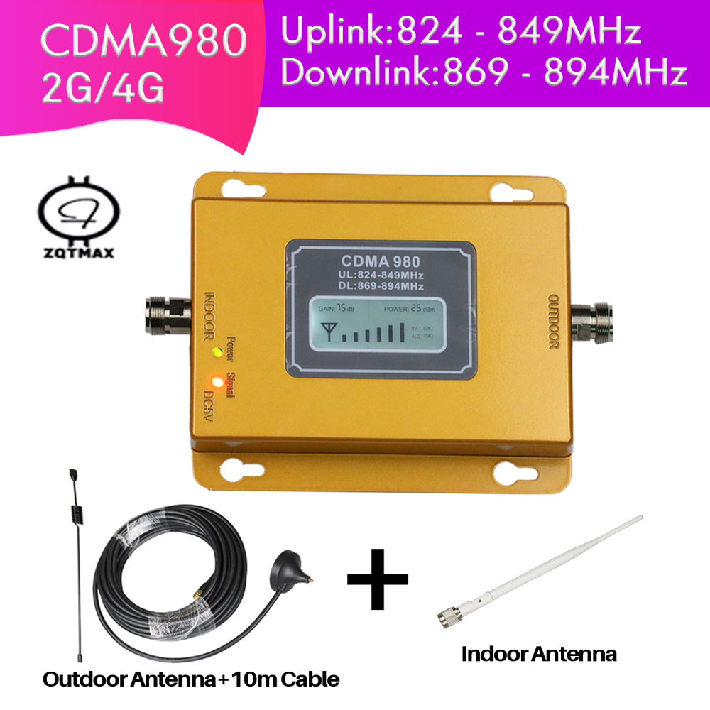 4G Cell Phone Booster 850mhz LCD Display CDMA850 Signal Amplifier 75dB Gain 2G Repeater With Antenna FulSet For Home Office Use