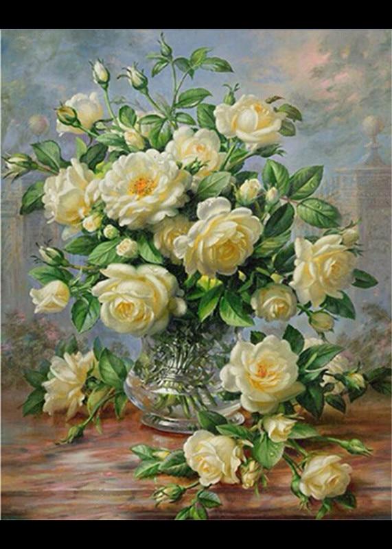 daimond malba bílá růže na vázu 5d diy mozaika krajina diamant výšivky diy vyšívání cross steh