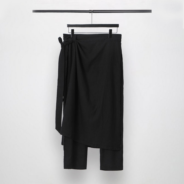 Owen Seak Men Casual Cross Pants Cotton Gothic Skirt Men's Clothing Summer Women Ankle-Length Pant Loose Black Pants Size XXL 1