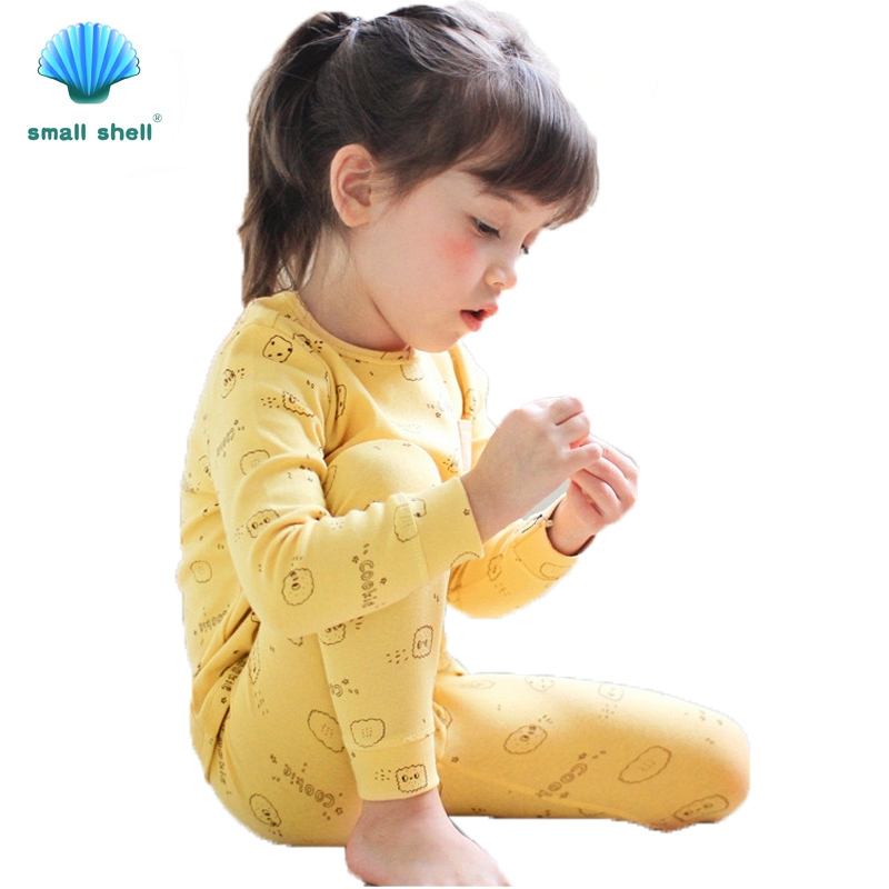 SMALL SHELL 2017 boys girls pajamas clothing sets Long sleeve kids clothes set children Spring autumn