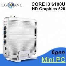 [6Gen Intel Core i3 6100U] 2016 Eglobal New Skylake PC Mini Computer 4K HTPC Intel HD Graphics 520 Gaming PC Ultra Nettop(China (Mainland))