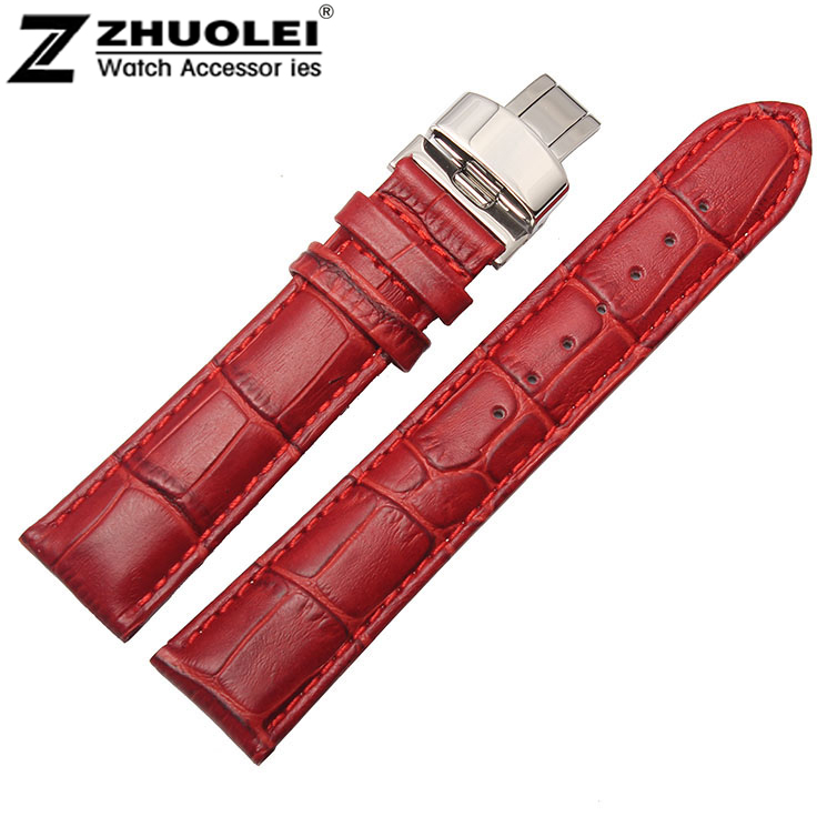 14mm 16mm 18mm 20mm Ladies Red Genuine Leather Watch BAND Strap Bracelets Folding Depolyment Clasp watch band12mm 14mm 16mm 18mm 20mm lizard pattern black genuine leather watch bands strap bracelets silver pin watch buckle