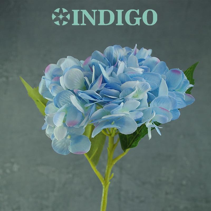 INDIGO- 5pcs 푸른 수국 잎 꽃 Hydrange 아름다운 결혼식 - 휴일 파티 용품 - 사진 2