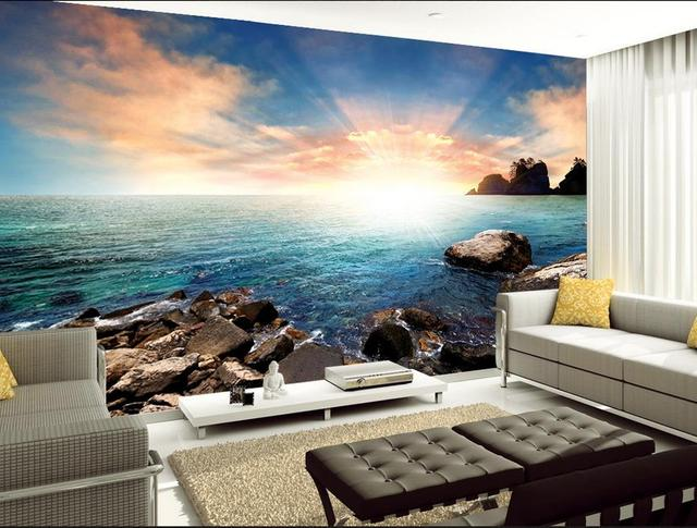 Sole e sabbia pietra bella vista sul mare 3d carta da for Carta da parati 3d mare