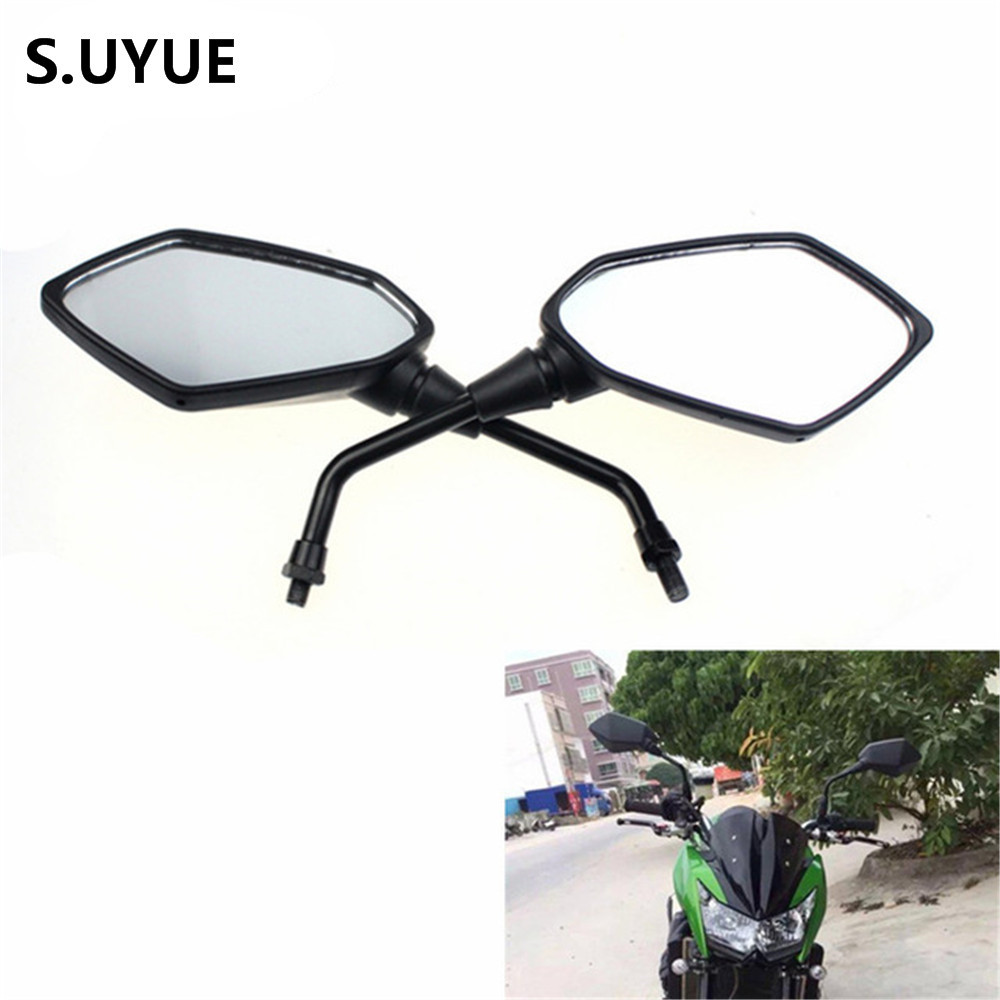 free shipping 1 Pair Black Adjustable ABS plastic+aluminum Motorcycle Rearview Mirror Scooter Parts for Kawasaki Z1000
