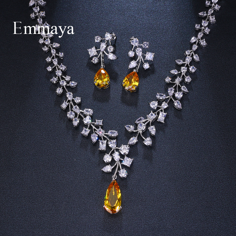 Emmaya Brand Fashion Charm Cubic Zirconia Bridal Multicolor Water Drop Jewelry Sets Crystal Party Wedding Jewelry Necklace SetsEmmaya Brand Fashion Charm Cubic Zirconia Bridal Multicolor Water Drop Jewelry Sets Crystal Party Wedding Jewelry Necklace Sets
