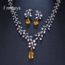 Emmaya Brand Fashion Charm Cubic Zirconia Bridal Multicolor Water Drop Jewelry Sets Crystal Party Wedding Jewelry Necklace Sets