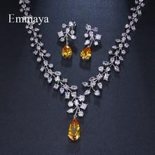 Emmaya marca moda charme zircônia cúbica nupcial multicolorido gota de água conjuntos de jóias de cristal festa casamento colar conjuntos