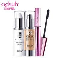 Qdsuh 3pcs Lot Pre Makeup Lotion Mascara Black Length Powder BB CC Cream Foundation Makeup Palette