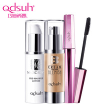 Qdsuh 3pcs/lot Pre makeup Lotion Mascara Black Length Powder BB CC Cream Foundation Makeup Palette Blusher Highlighter Concealer