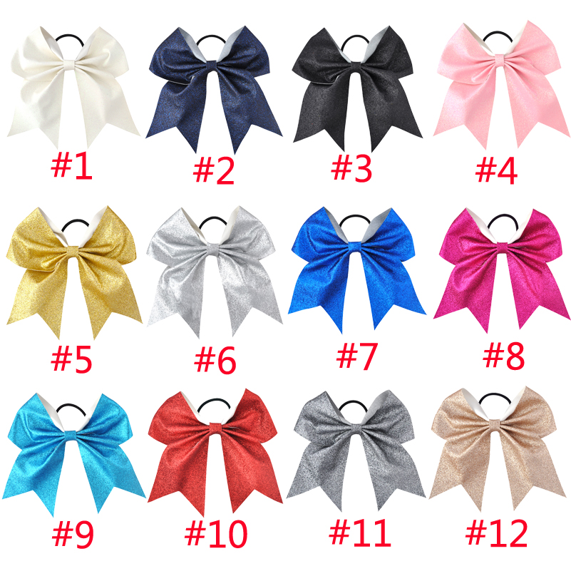 24 Color 7inch Girls Boutique Solid Glisten Big Cheerleading Bow Elastic Hair Bands Ponytail Holder Women Hair Accessories Apparel Accessories