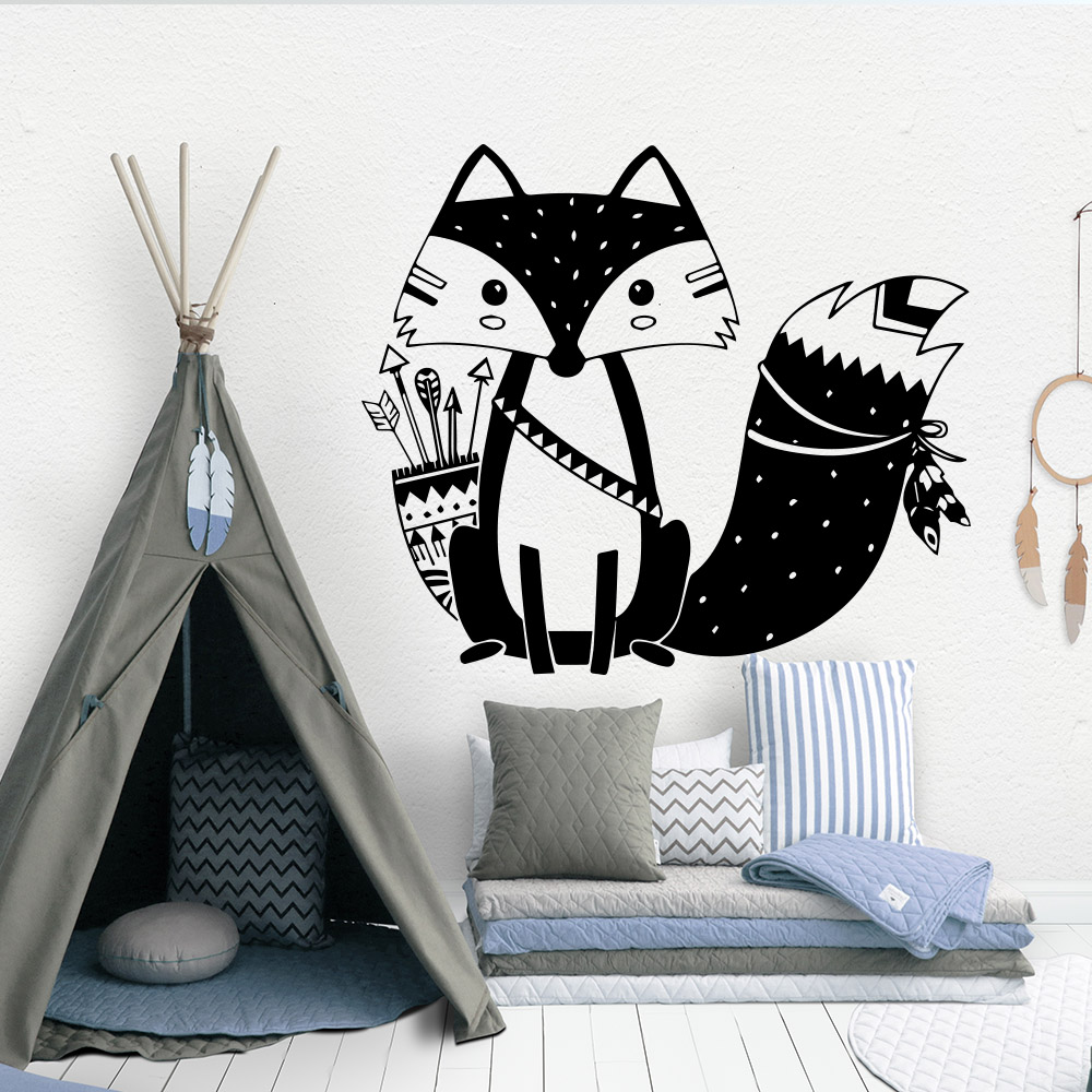 Nordic Style Tribal Fox Vinyl Wall Sticker For Kids babys Room Decoration boys Room bedroom decor animals mural wallstickers