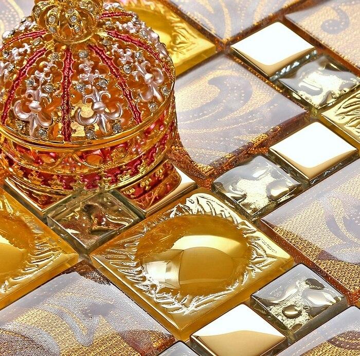 Orange Kitchen Backsplash Tile: Orange Color Electroplating Glass Mosaic Tiles Sheet
