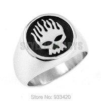 Free shipping! Flame Skull Motor Biker Ring Stainless Steel Jewelry Fashion Skull Motorcycle Biker Men Ring Wholesale SWR0443
