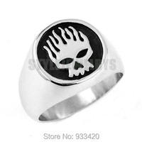 Free shipping! Flame Skull Motor Biker Ring Stainless Steel Jewelry Fashion Skull Motorcycle Biker Men Ring Wholesale SWR0443