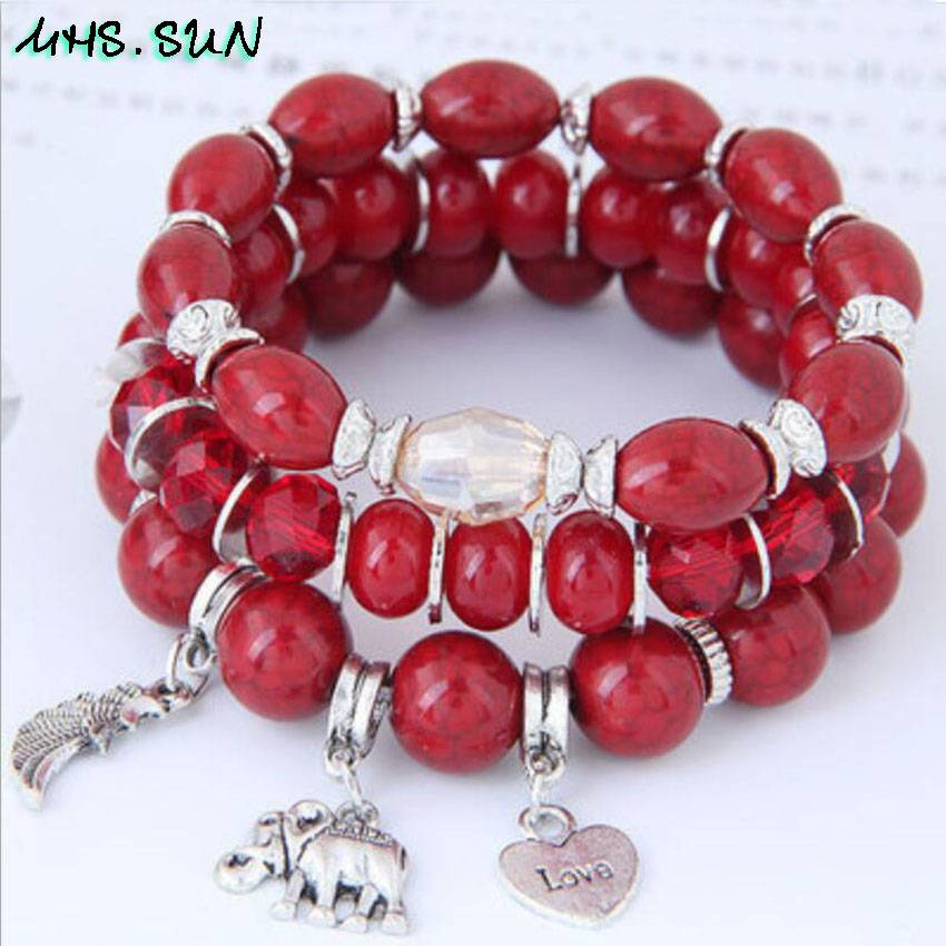 6-1 Bohemia Style Fashion Beads Bracelets Bangles For Women European Vintage Bracelets Beaded Jewelry Exaggerated Design