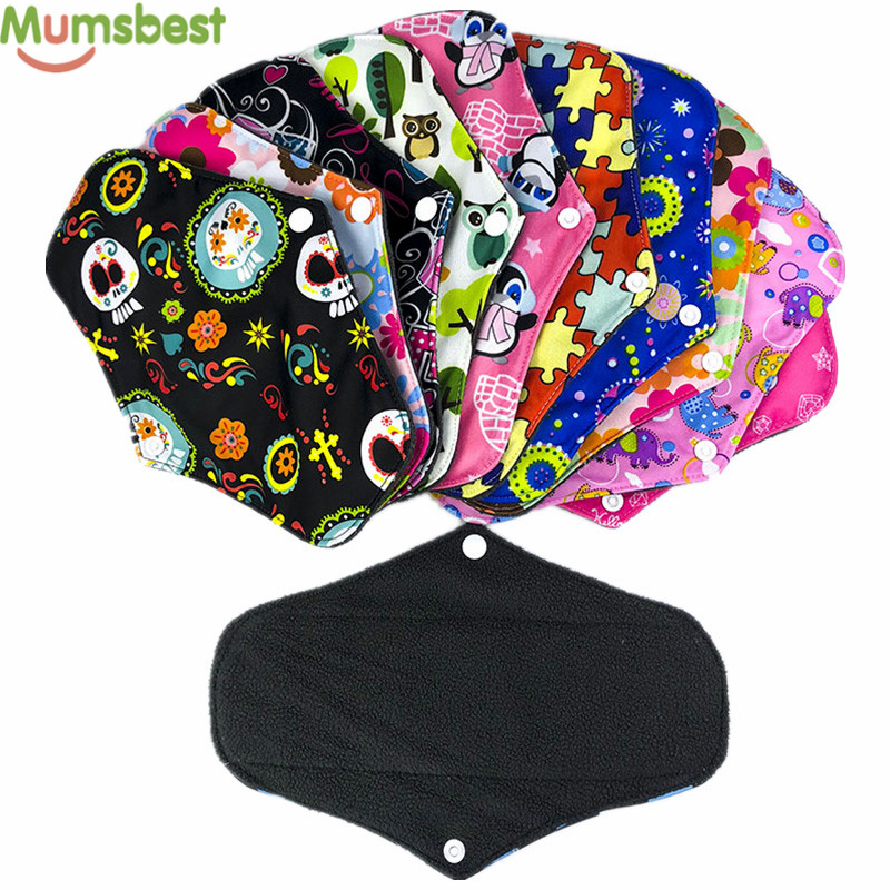 [Mumsbest] 10PCS Bamboo Charcoal Cloth Menstrual Pads Reusable Maternity Pads Washable Sanitary Pads Many Colors To Choice