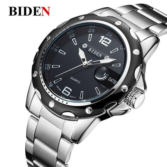 ed27c41f7b85 BIDEN hombres únicos Aviator reloj Top marca de lujo acero inoxidable  militar deporte cuarzo analógico para hombre regalos